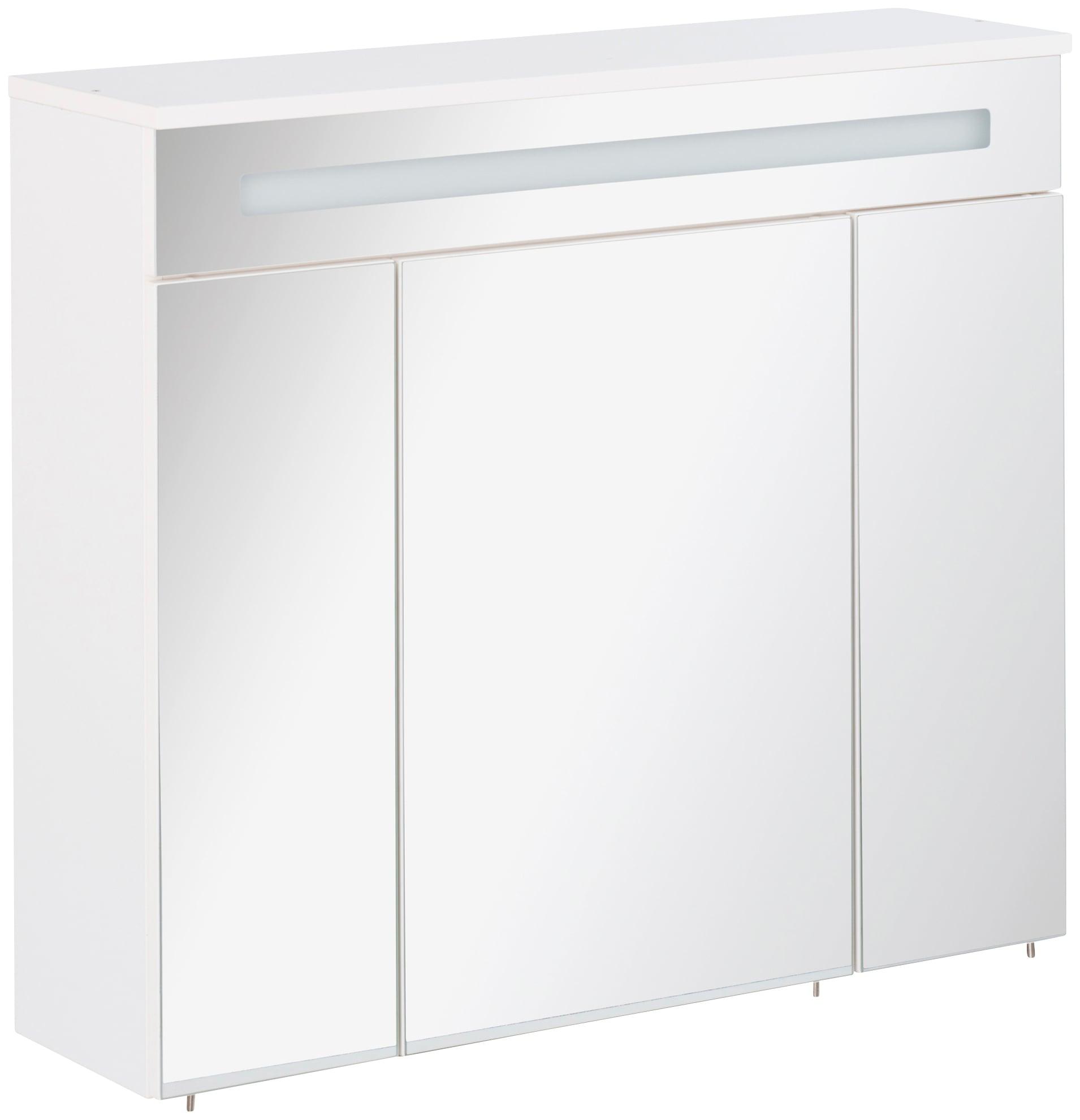 FACKELMANN Spiegelschrank Kara, Breite 80 cm, LED-Badspiegelschrank weiß Spiegelschränke mit Beleuchtung Badmöbel