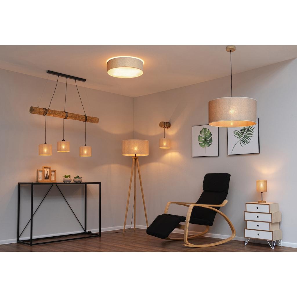OTTO products Stehlampe »Emmo«, E27, Stehleuchte mit massivem Dreibein aus Kiefernholz, Naturprodukt mit FSC®-Zertifikat, hochwertiger Textilschirm, Made in Europe