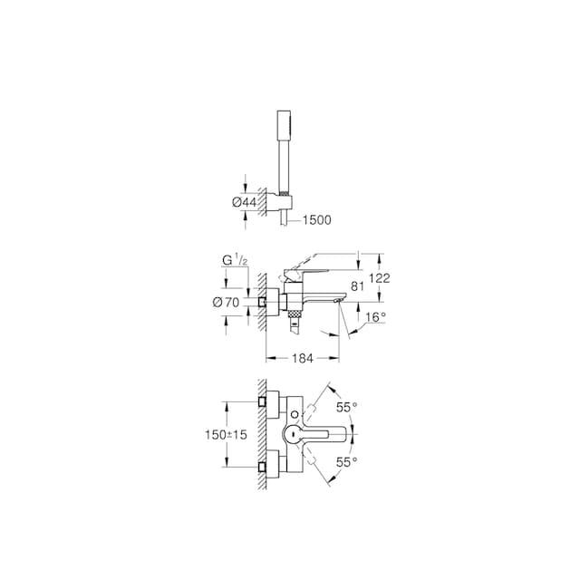 GROHE Duscharmatur »Lineare«, verchromt mit Handbrause und Brauseschlauch