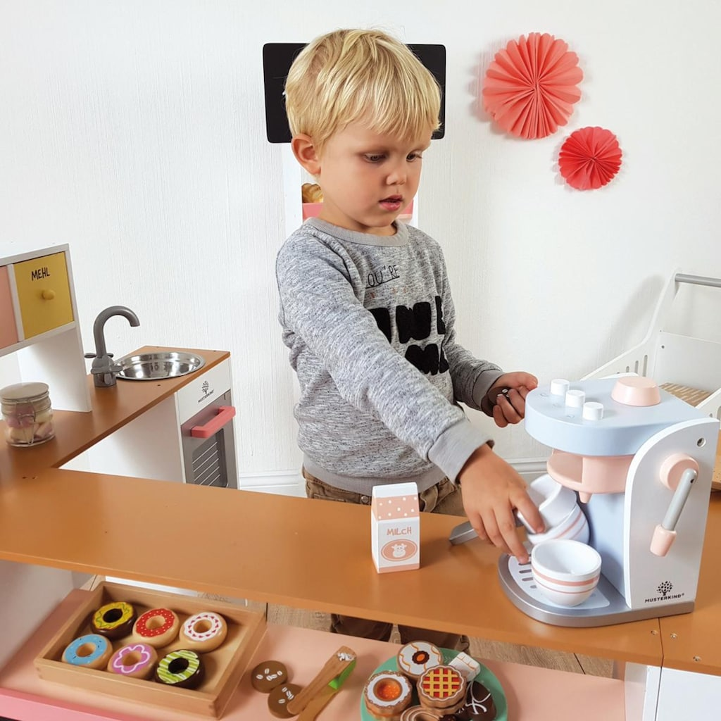 MUSTERKIND® Kinder-Kaffeemaschine »Olea, weiß/graublau«, mit herausnehmbaren Siebträger