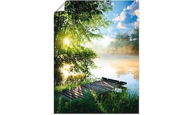 Artland Wandbild »Angelsteg am Morgen«, Gewässer, (1 St.), in vielen Größen & Produktarten - Alubild / Outdoorbild für den Außenbereich, Leinwandbild, Poster, Wandaufkleber / Wandtattoo auch für Badezimmer geeignet kaufen