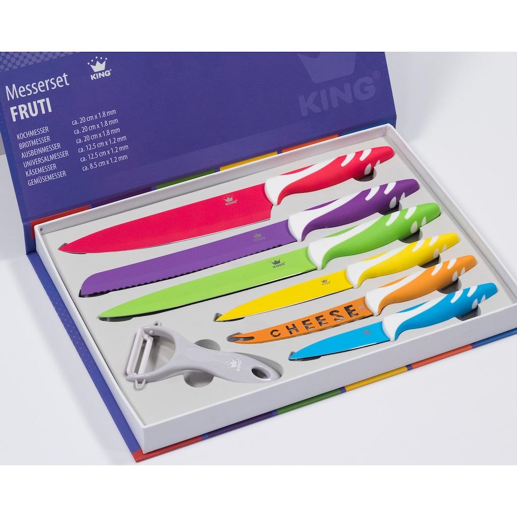 KING Messer-Set »FRUTI«, (Set, 6 tlg., mit Käsemesser-arbenfroher Farbmix), inklusive Schäler und mit speziellem Käsemesser