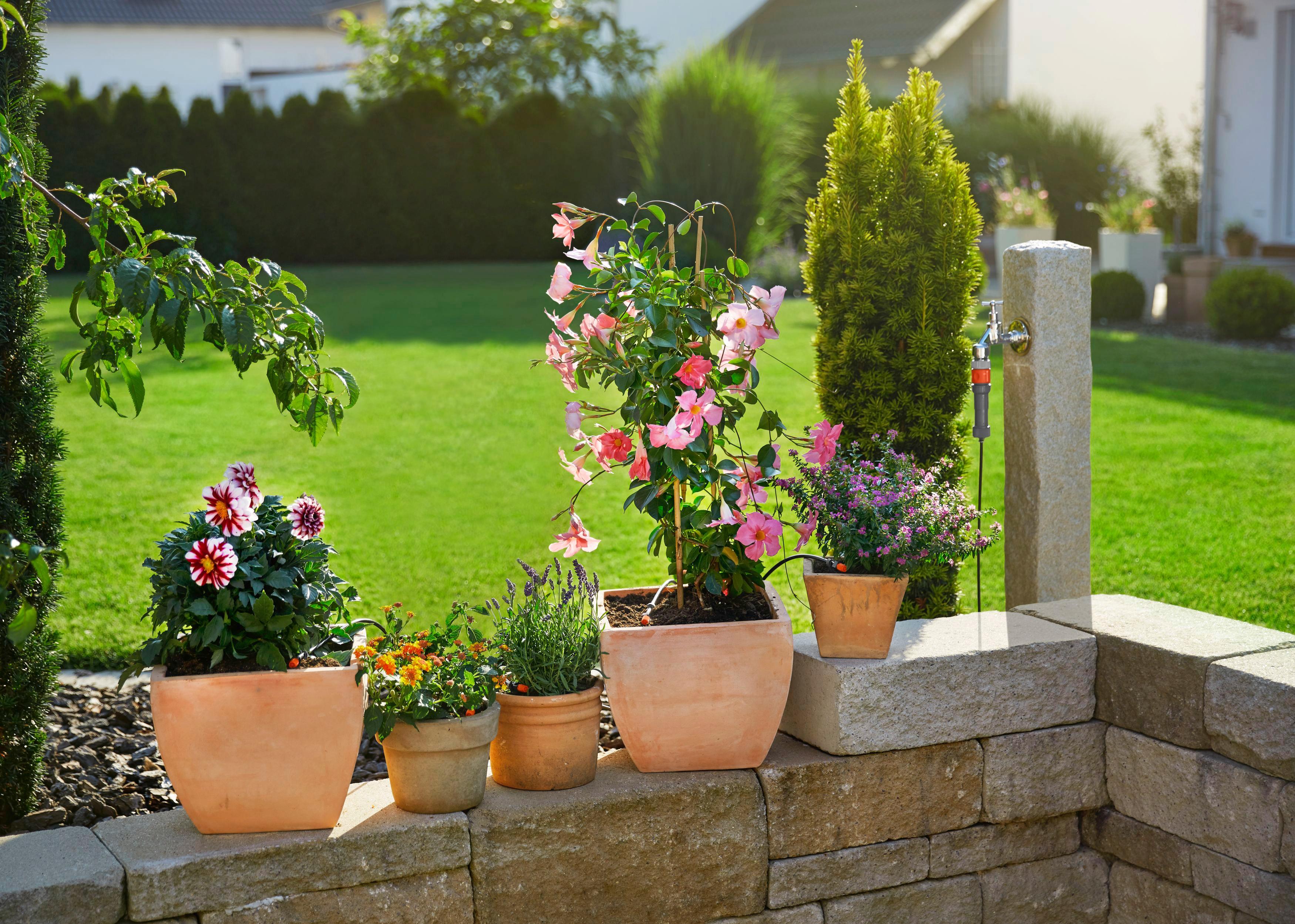 GARDENA Bewässerungssystem Micro-Drip-System, 13000-20, Start-Set Pflanztöpfe S schwarz Bewässerungssysteme Bewässerung Garten Balkon