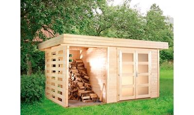 WOLFF FINNHAUS Set: Gartenhaus »Varianta A«, BxT: 440x310 cm, Fußboden, Anbaudach, Rück -  und Seitenwand kaufen