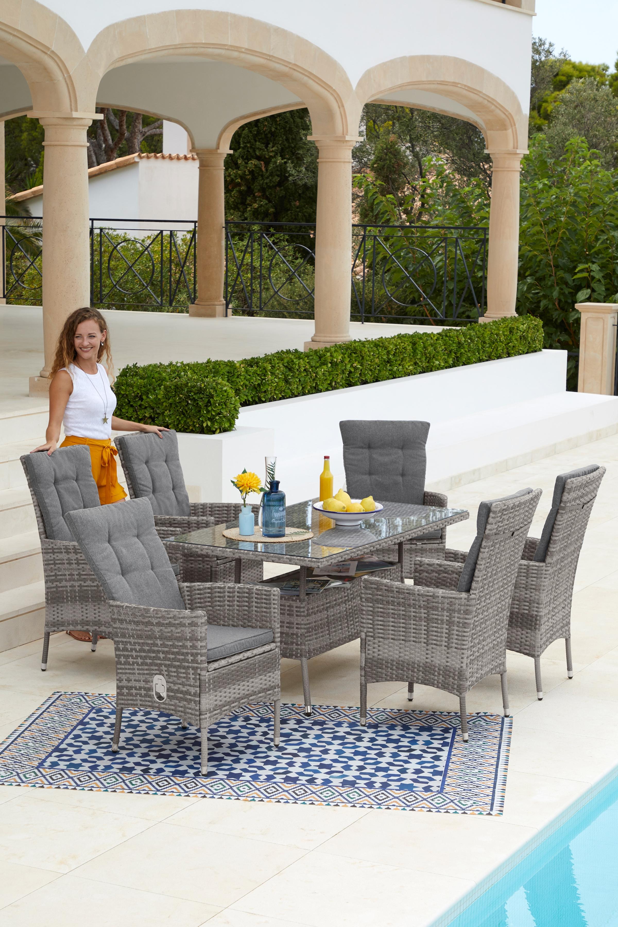 KONIFERA Gartenmöbelset Belluno 13-tlg 6 Sessel Tisch 150x 80 cm Polyrattan
