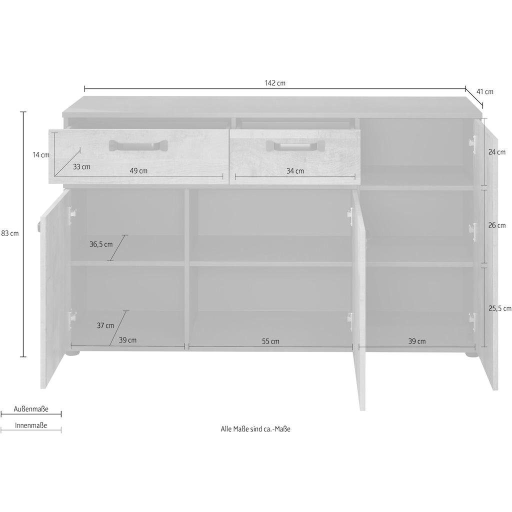 trendteam Sideboard »Stripe«, Breite 142 cm