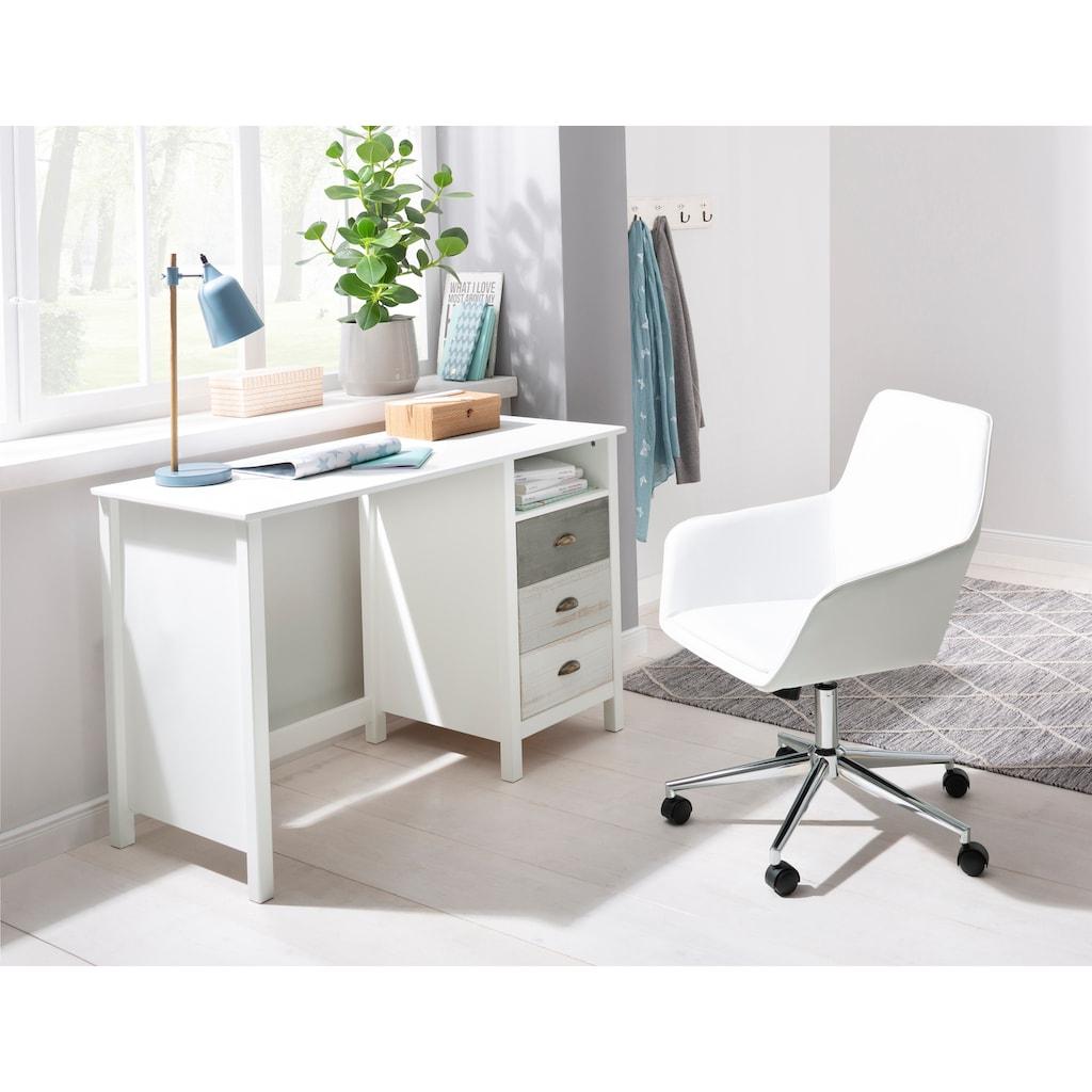 Home affaire Schreibtisch »Pilatus«, erstrahlt in schöner Holzoptik, mit gebürsteter Schubkastenfront, Breite 120 cm