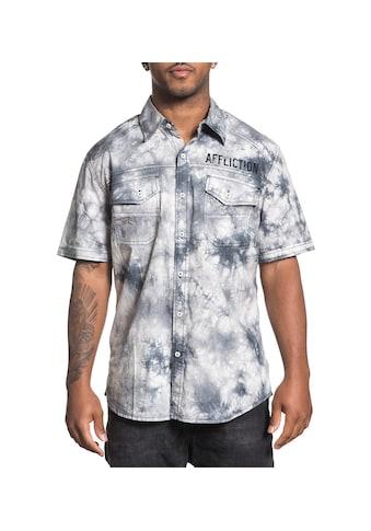 AFFLICTION Kurzarmhemd im Batik-Stil mit Markendruck kaufen