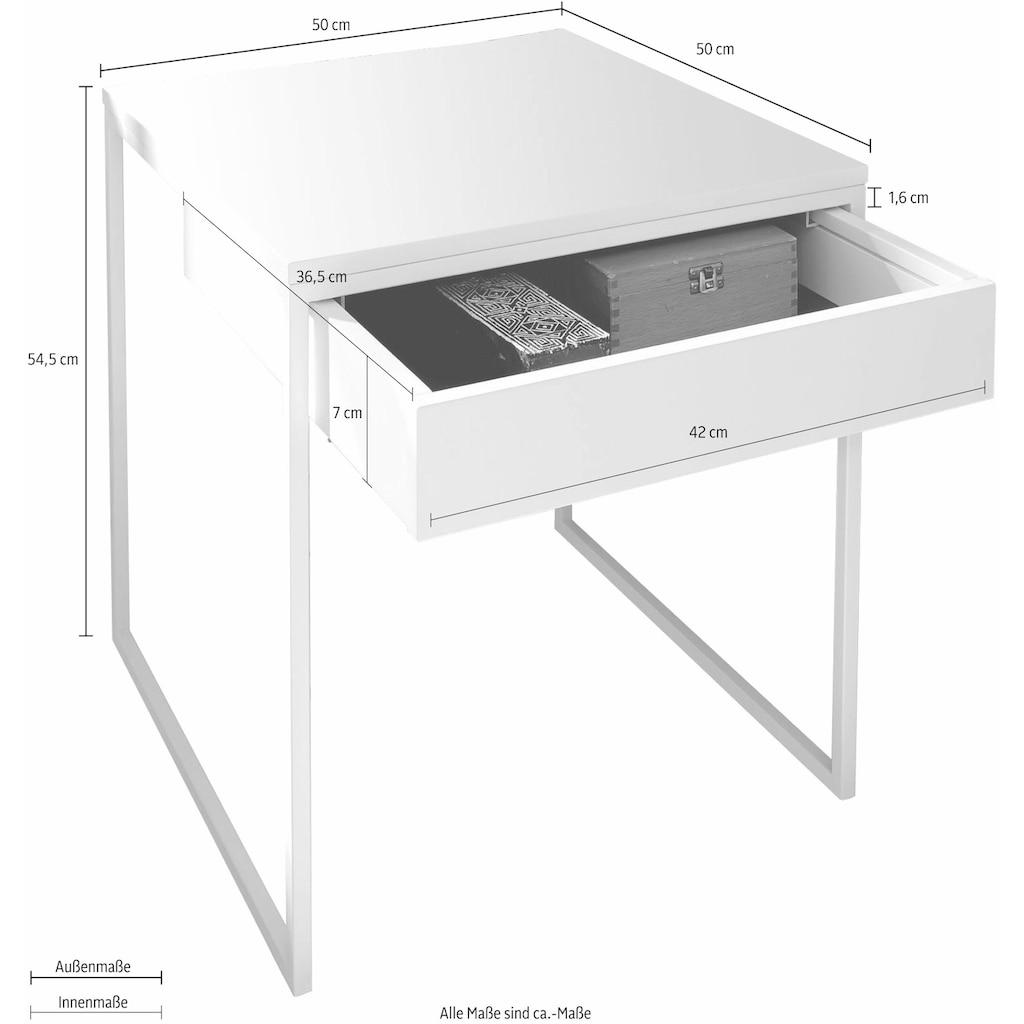 now! by hülsta Couchtisch »CT 17-2«, mit Schublade und weißem Gestell, Höhe 54,5 cm