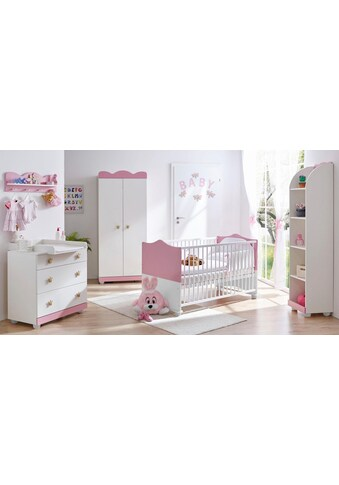 Ticaa Babyzimmer-Komplettset »Prinz/Prinzessin«, (Set, 5 tlg.), Bett + Wickelkommode + Schrank + Wandregal + Anstellschrank kaufen