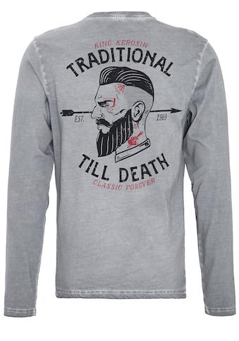 KingKerosin Langarmshirt »Traditional Till Death«, im Used-Look mit Front-Stickerei... kaufen