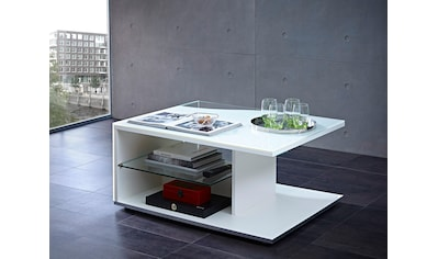 LEONARDO Couchtisch »CURVE«, mit Glasablage, Komplett-Lack, Breite 95 cm kaufen