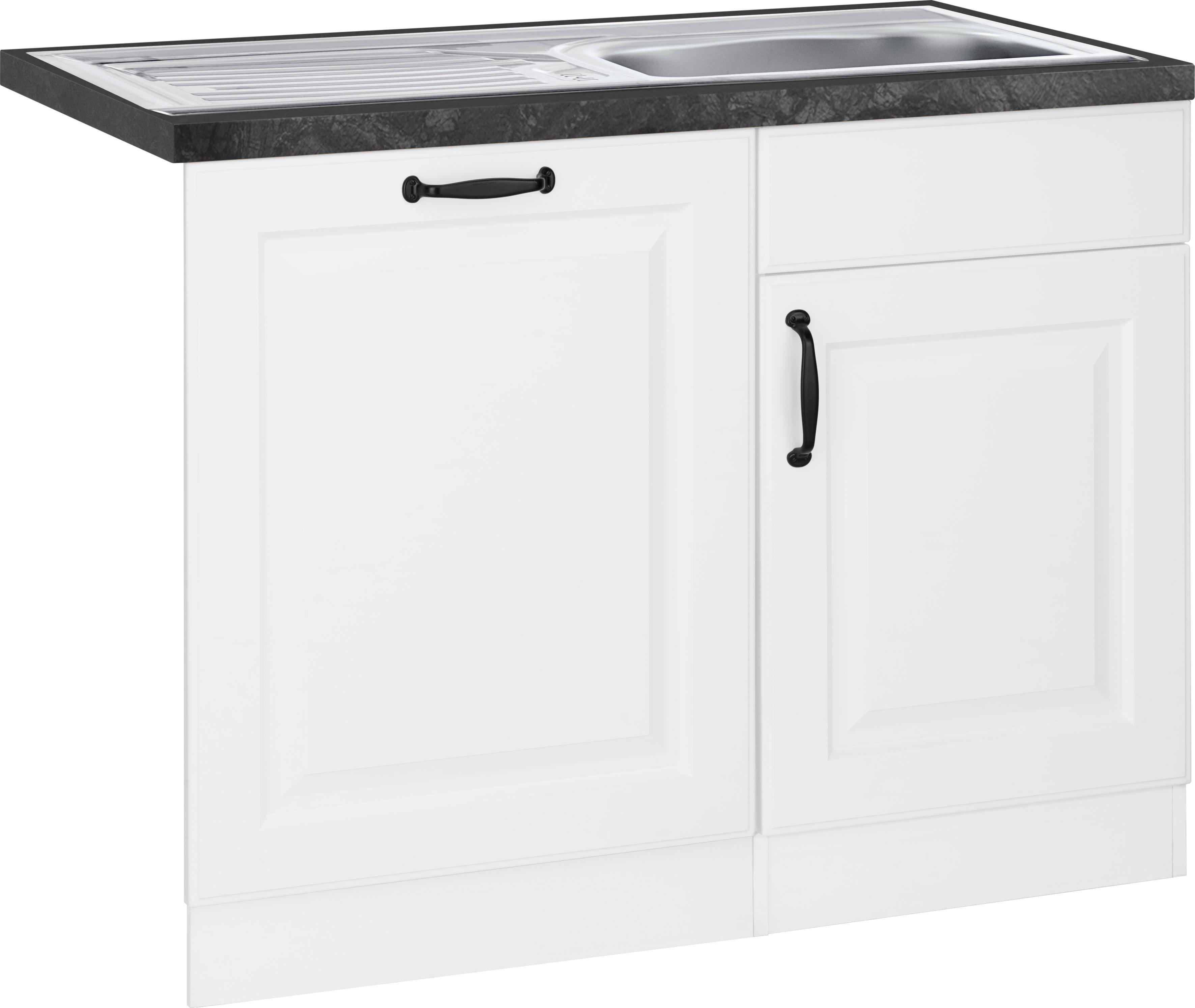 wiho Küchen Spülenschrank Erla, 110 cm breit, inkl. Tür/Sockel für Geschirrspüler weiß Spülenschränke Küchenschränke Küchenmöbel