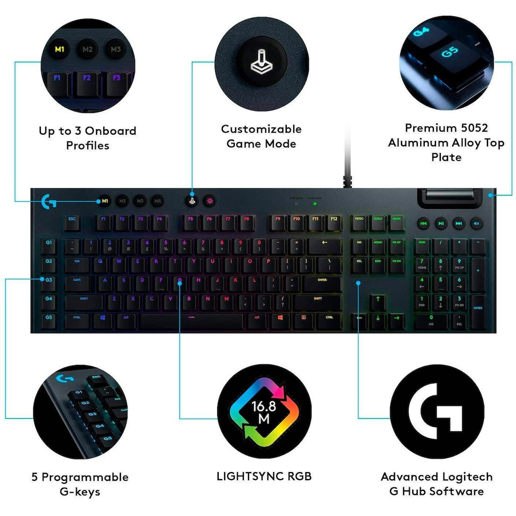 Logitech G Gaming-Tastatur »G815 LIGHTSYNC RGB Mechanical Gaming Keyboard - GL Clicky«, (USB-Anschluss-Ziffernblock-Multimedia-Tasten)