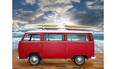 Papermoon Fototapete »Red Beetle Bus«, Vliestapete, hochwertiger Digitaldruck kaufen