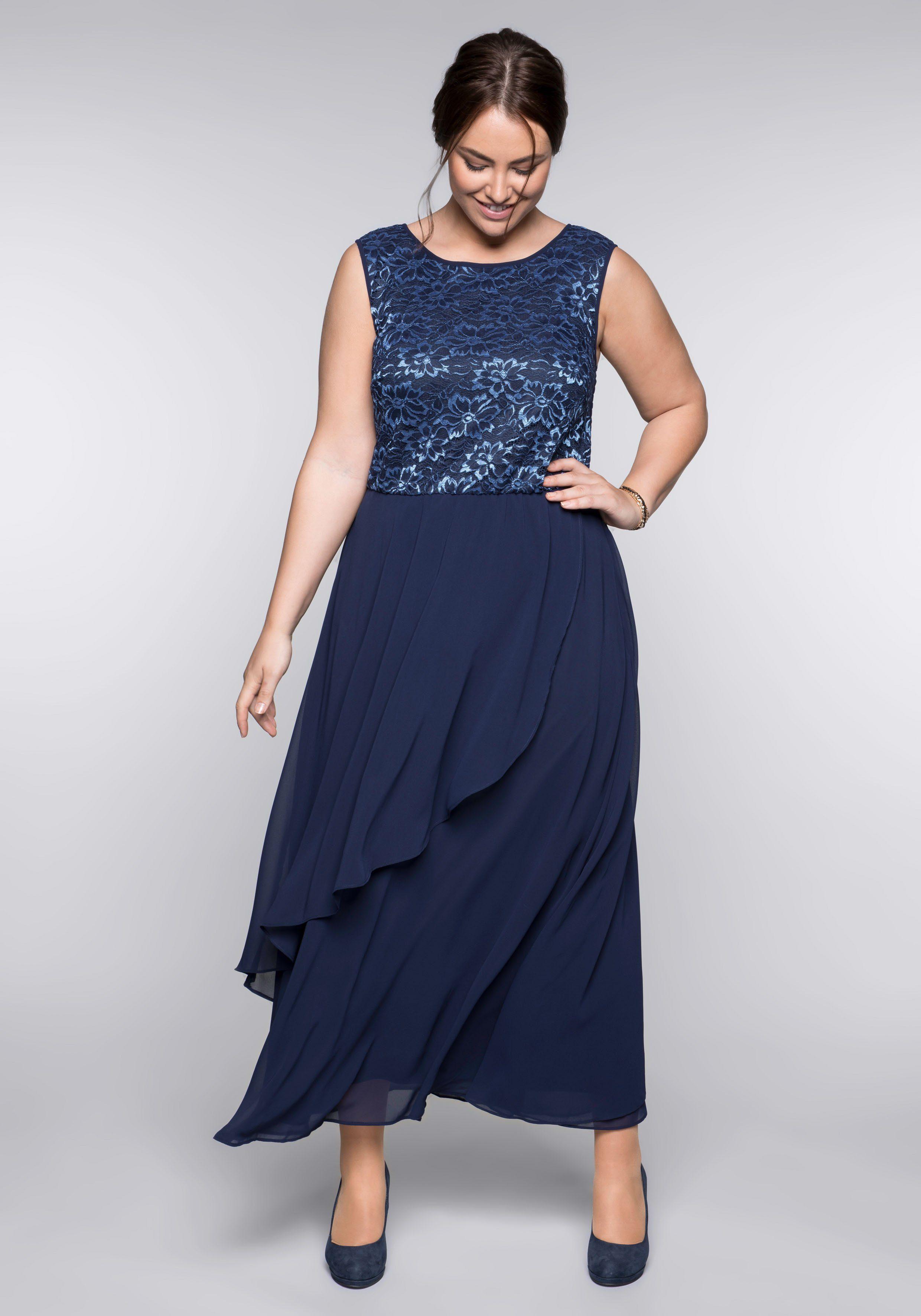 Sheego Abendkleid blau Damen Abendkleider Kleider