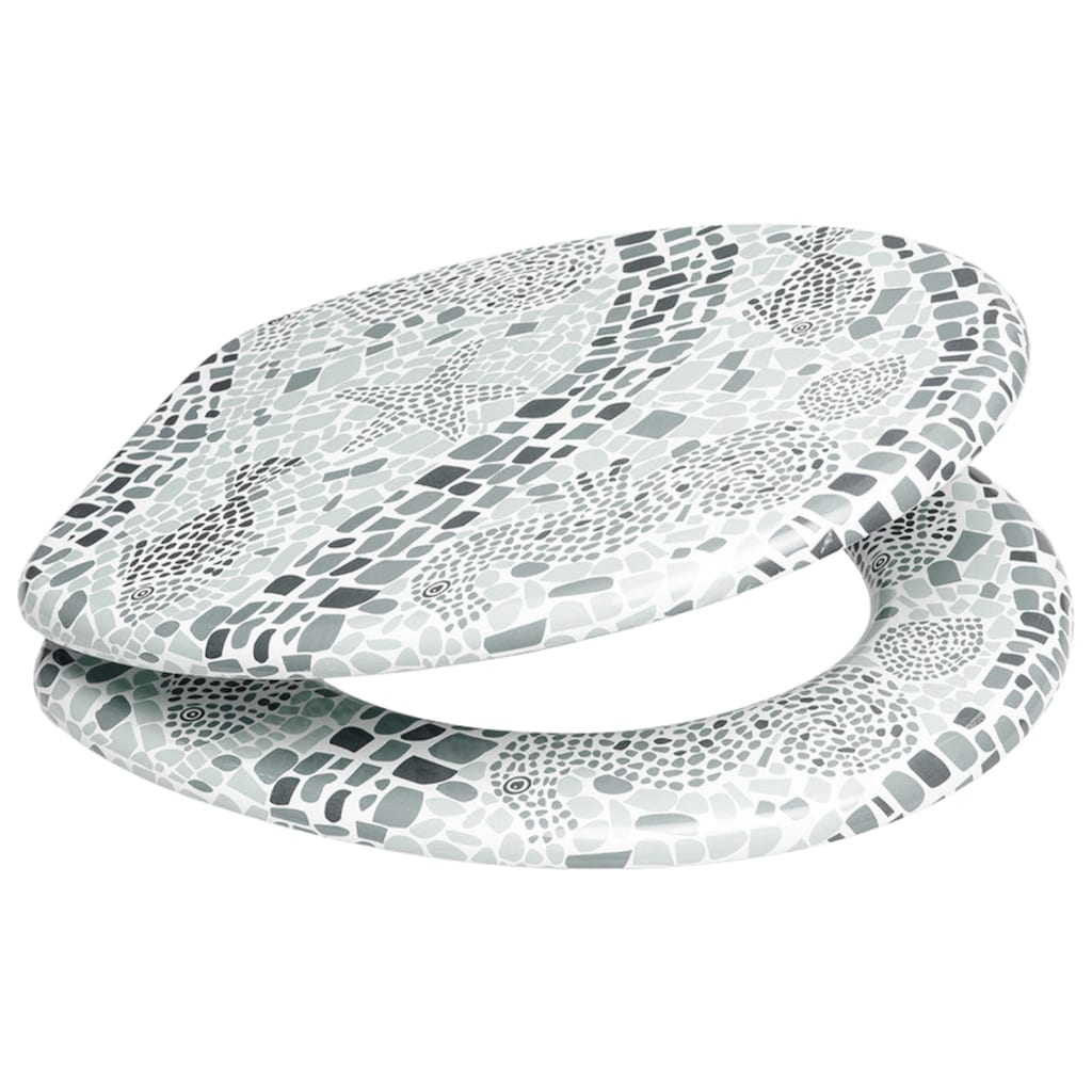Sanilo WC-Sitz »Mosaic World Grey«, mit Absenkautomatik