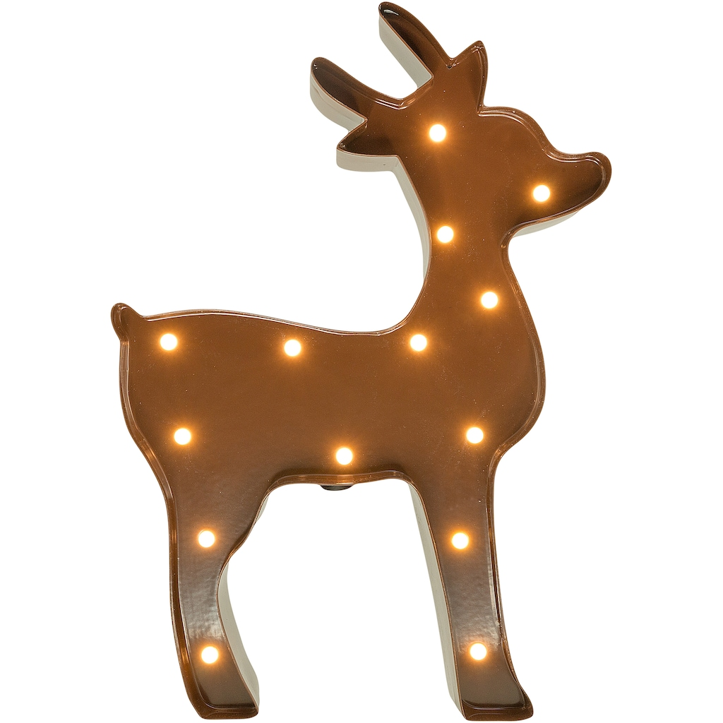 MARQUEE LIGHTS LED Dekolicht »Rentier«, 1 St., Warmweiß, Wandlampe, Tischlampe Rendeer mit 14 festverbauten LEDs - 23cm Breit und 16cm hoch