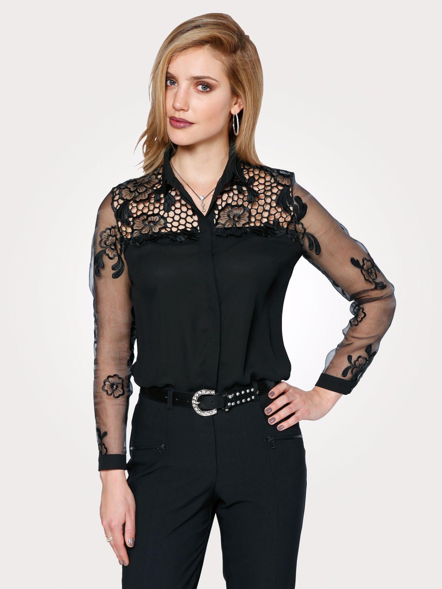 Mona Spitzenbluse mit transparenten Organzaärmeln | Bekleidung > Blusen > Spitzenblusen | Schwarz | Mona