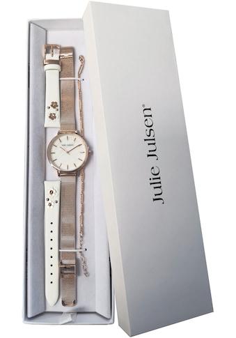 Julie Julsen Quarzuhr »PEARL SET, JJW40 - SET3« (Set, 3 tlg., Lederwechselband mit Blumenapplikationen und rosévergoldetes Silberarmband mit orangem Nylonband) kaufen
