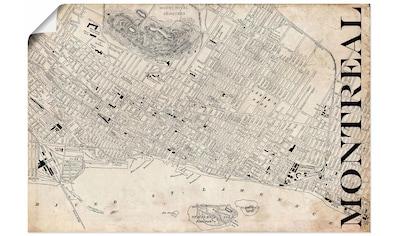 Artland Wandbild »Montreal Karte Straßen Karte Grunge«, Amerika, (1 St.), in vielen... kaufen