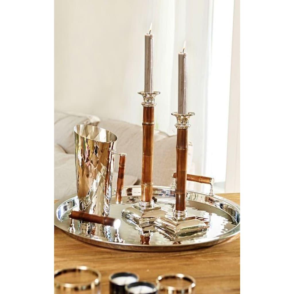 EDZARD Kerzenleuchter »Holm«, Kerzenständer aus Edelstahl mit Bambusschaft, vernickelt, Kerzenhalter für Stabkerzen, Höhe 30 cm