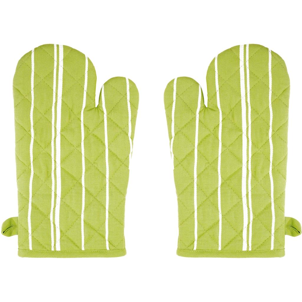 stuco Topfhandschuhe »Streifen«, (Set, 2 tlg.), mit Aufhängeöse