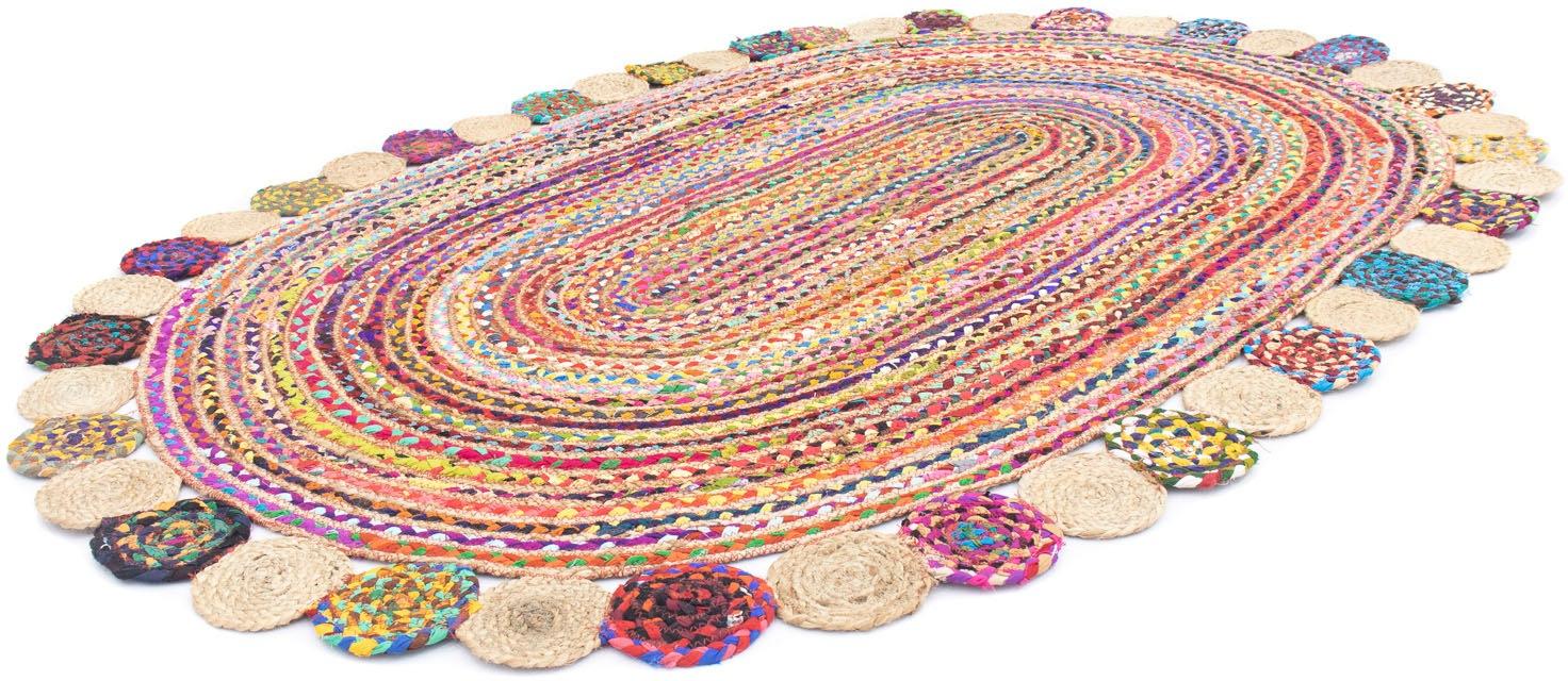 morgenland Teppich Sisalteppich Lerina, oval, 6 mm Höhe bunt Esszimmerteppiche Teppiche nach Räumen