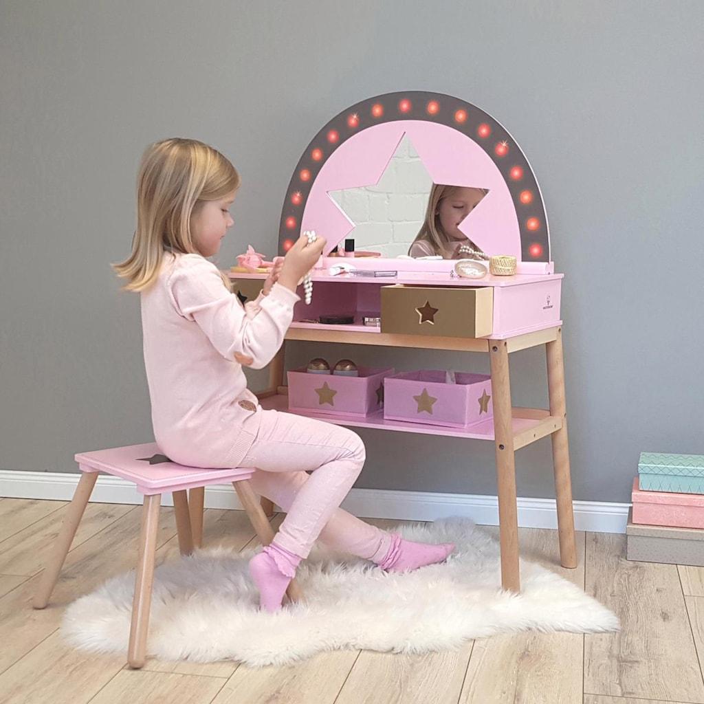 MUSTERKIND® Schminktisch »Malva, rose/ gold«, mit Stuhl; für Kinder