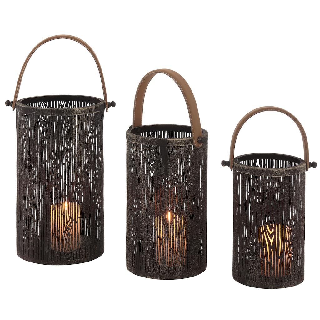 Kerzenlaterne, aus Metall im Baumlook, mit Tragegriff