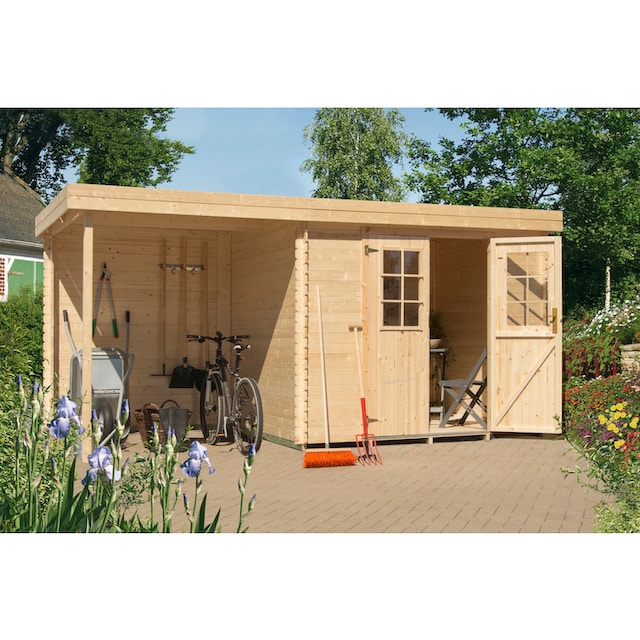 Kiehn-Holz Set: Gartenhaus »Schüberg 2«, BxT: 446x226 cm, Anbaudach mit Rückwand und Fußboden