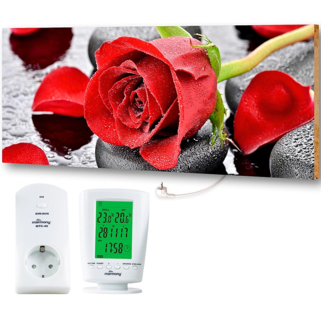 """Marmony Infrarotwandheizung »MOTIV-Heizkörper """"Red Roses"""" 830017, 800 Watt«, trocknet Wände und Mauerwerk, aus deutschem Jura-Naturstein"""
