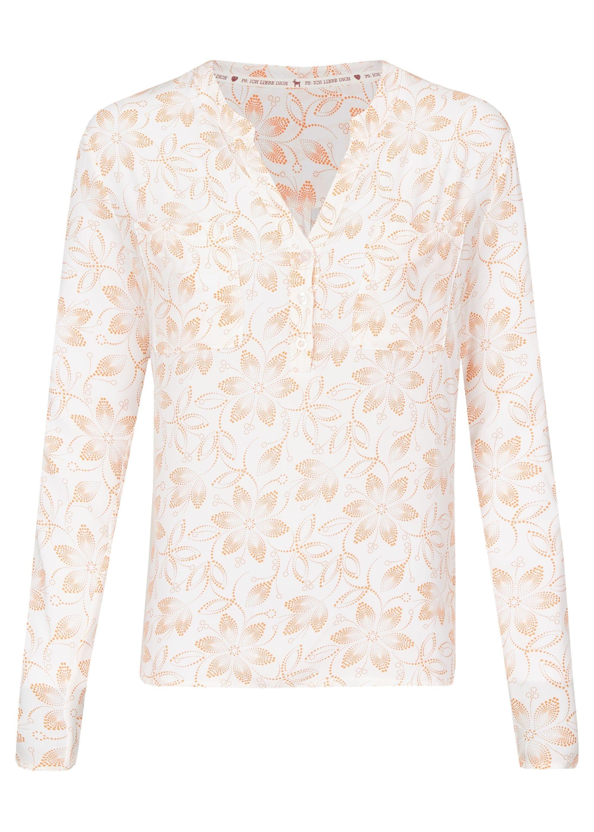 Heimatliebe Bluse mit Serafino-Kragen in Blumendruck