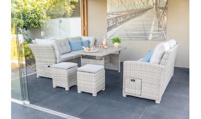 GREEMOTION Loungeset »Malia«, 23 - tlg., 2x 3er Sofa, 2 Hocker, Tisch, Alu/Polyattan kaufen