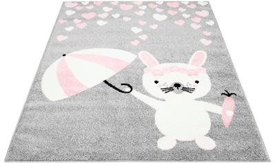 Carpet City Kinderteppich »Bubble Kids 1318«, rechteckig, 11 mm Höhe, Hase und Herzen... kaufen
