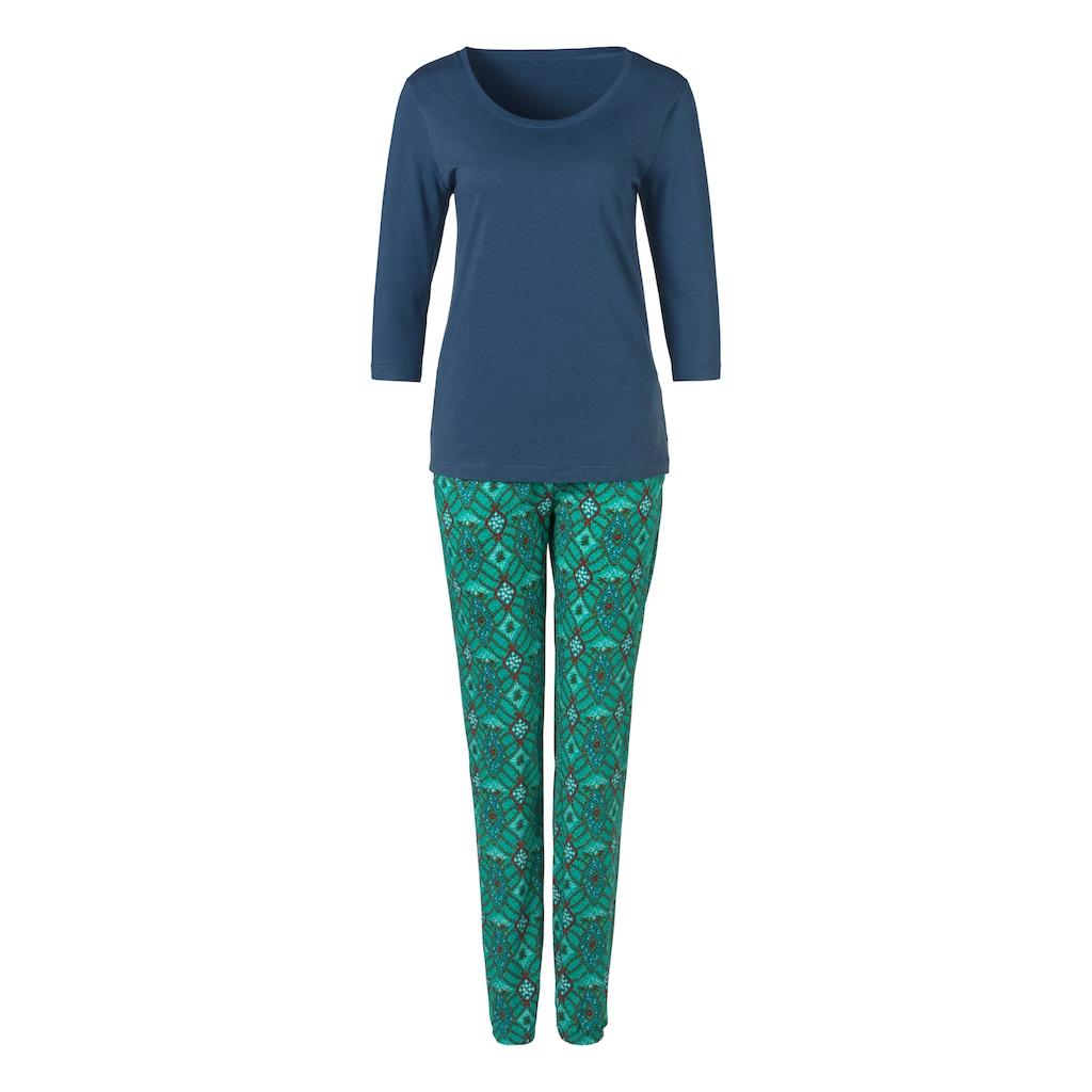 s.Oliver Pyjama, im Ornamentdruck mit 3/4-Ärmeln