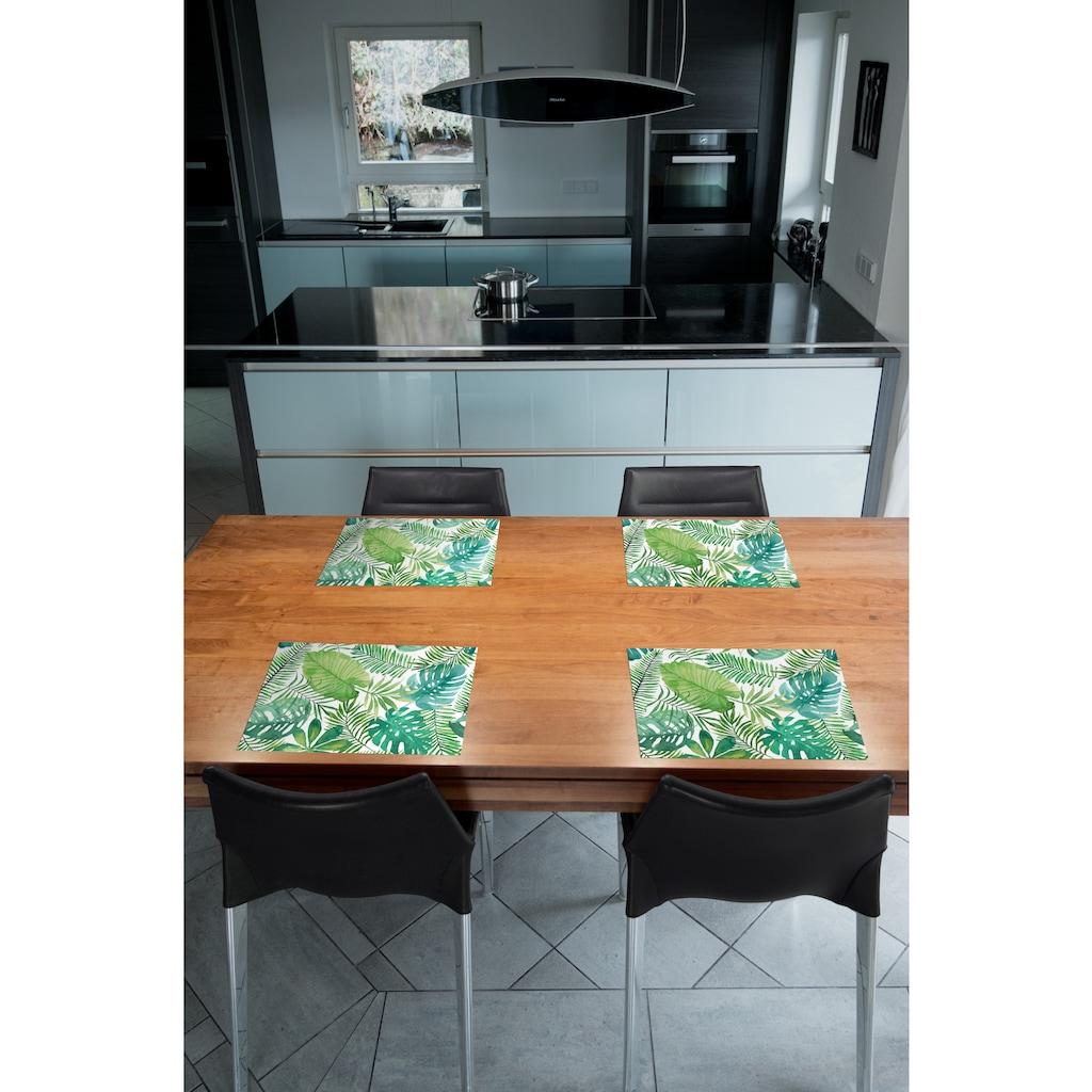Contento Platzset »Matteo Blätter«, (Set, 4 St.), für den Innen- und Außenbereich, wasserabweisend, 30x40 cm