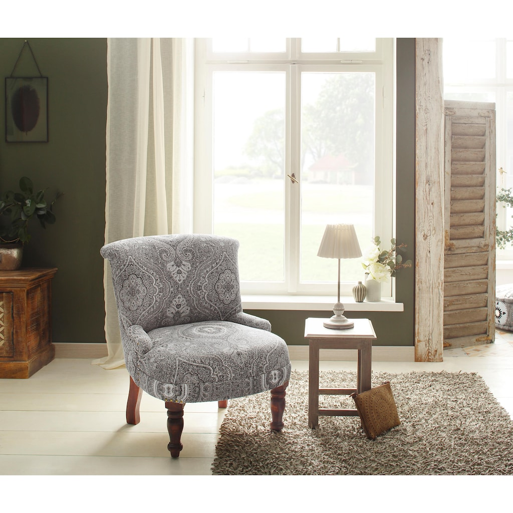 Home affaire Sessel »Jamal«, aus schönem Leinenstoff mit edlen Stickereien, Sitzhöhe 39 cm