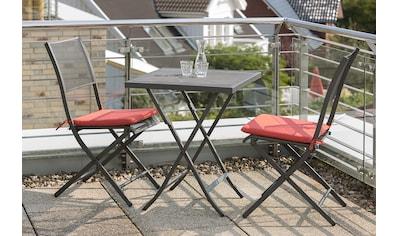 MERXX Gartenmöbelset »Samos«, 3tlg., 2 Sessel, Tisch, klappbar, Stahl, graphit kaufen