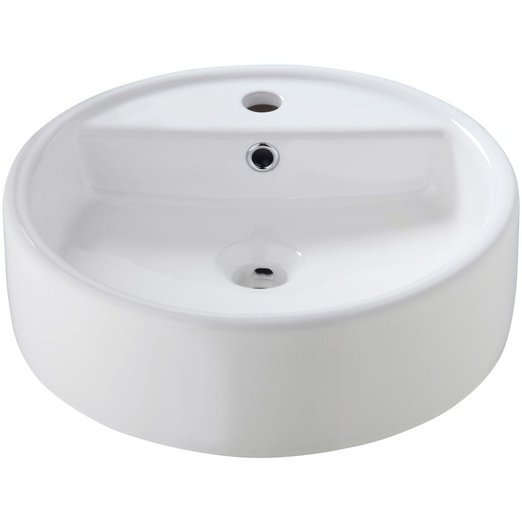 welltime Aufsatzwaschbecken » Madrid«, rund, mit Überlauf, Breite 44 cm