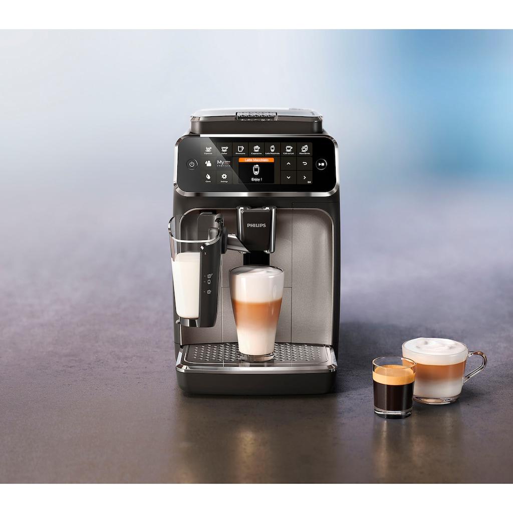 Philips Kaffeevollautomat »4300 Series EP4346/70 LatteGo«, silber/mattschwarz