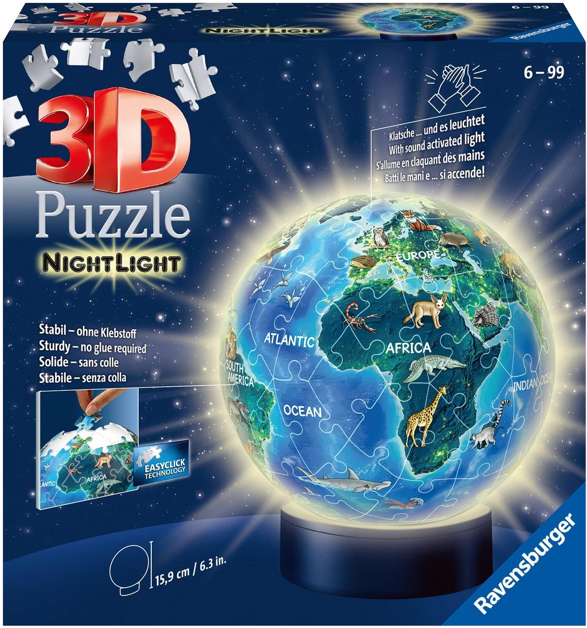 Ravensburger Puzzleball Nachtlicht Erde bei Nacht, mit Leuchtmodul inkl. LEDs; Made in Europe bunt Kinder Ab 6-8 Jahren Altersempfehlung Puzzles