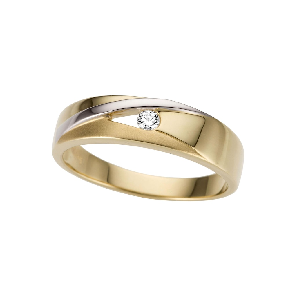 Firetti Goldring »bicolor, glanz, rhodiniert, matt, massiv«, mit Zirkonia