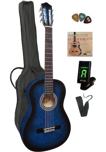 Konzertgitarre, 4/4, inkl. Gitarrentasche, Gitarrengurt, Saiten, 3 Plektren und... kaufen