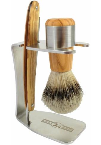 Golddachs Rasierset, mit Rasiermesser und Pinsel (Silberspitze), aus Olivenholz kaufen