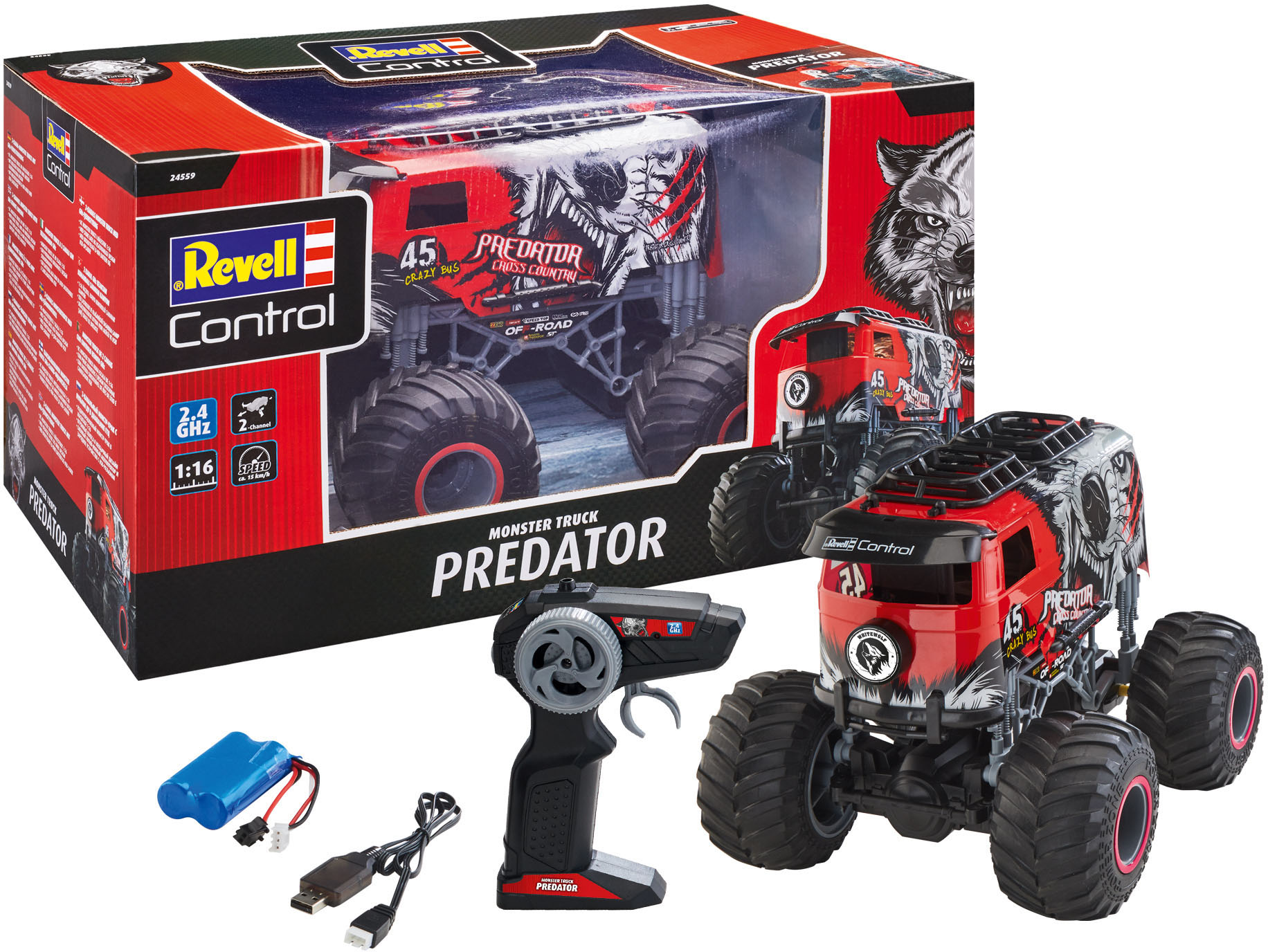 Revell RC-Monstertruck PREDATOR rot Kinder RC Auto Autos, Eisenbahn Modellbau