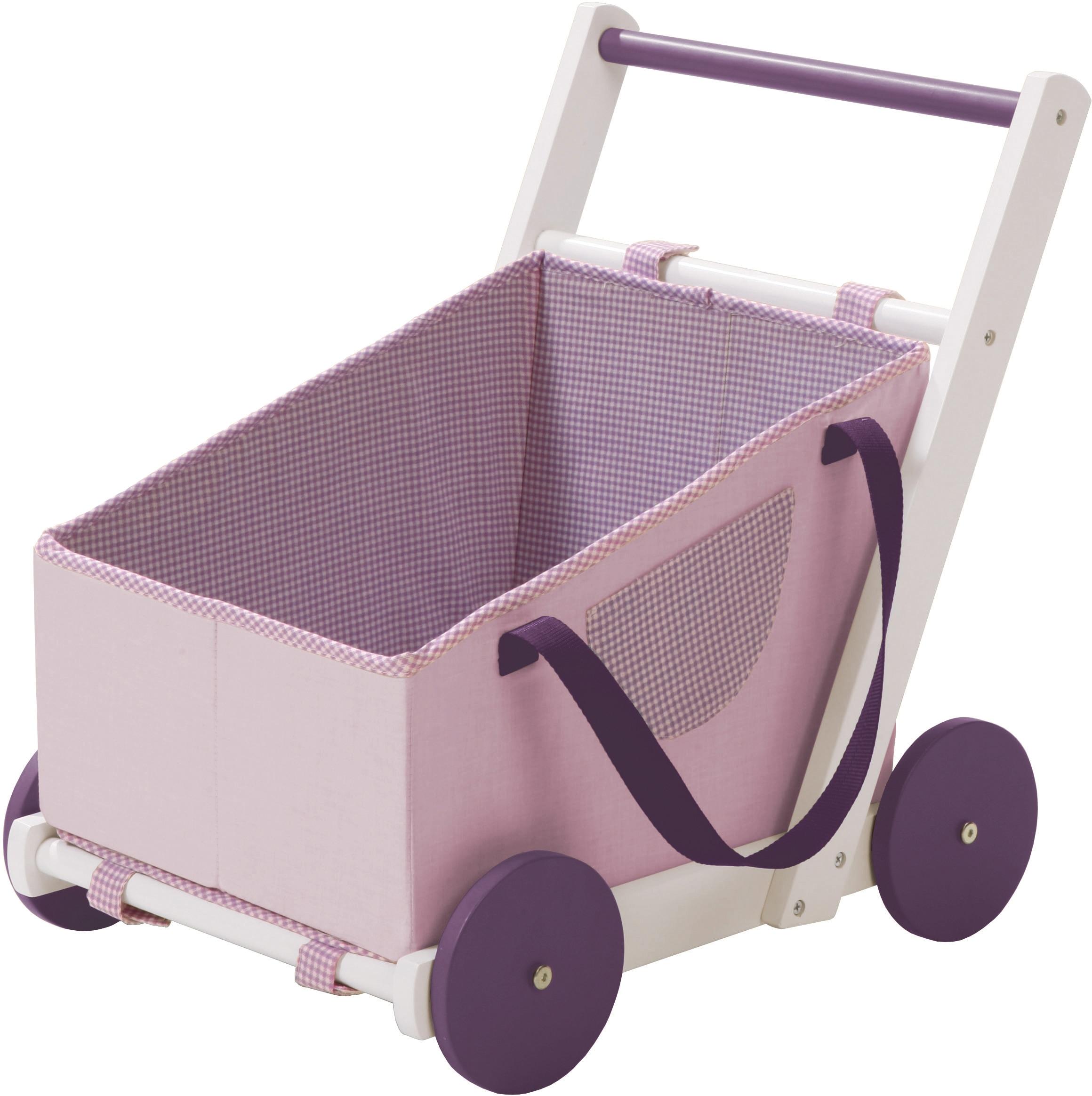 roba Puppenwagen Fienchen, aus Holz mit Tragetasche Stoff rosa Kinder Puppenzubehör Puppen