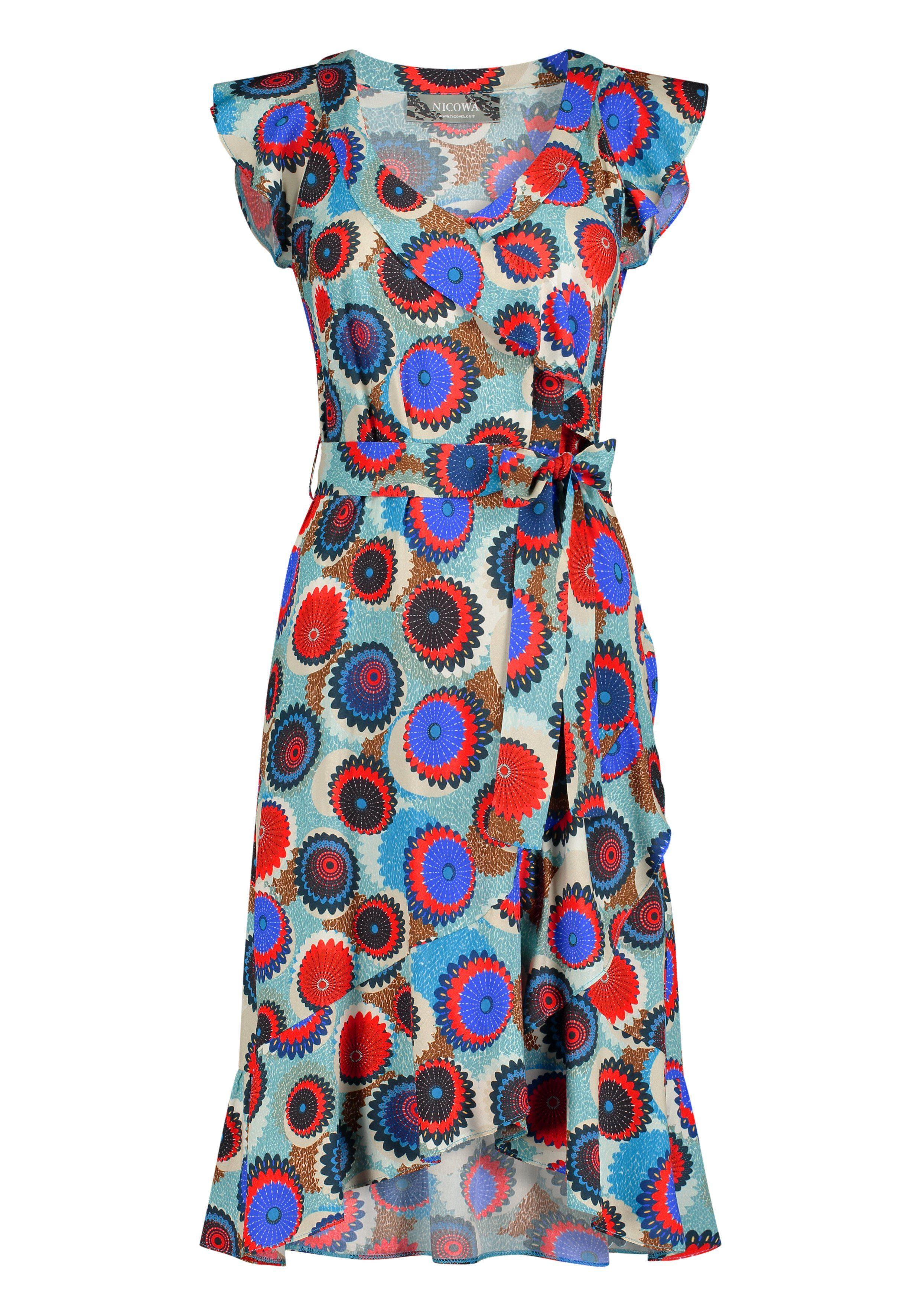 Nicowa Sommerliches Kleid NAVILLA mit Volants und Allover-Muster