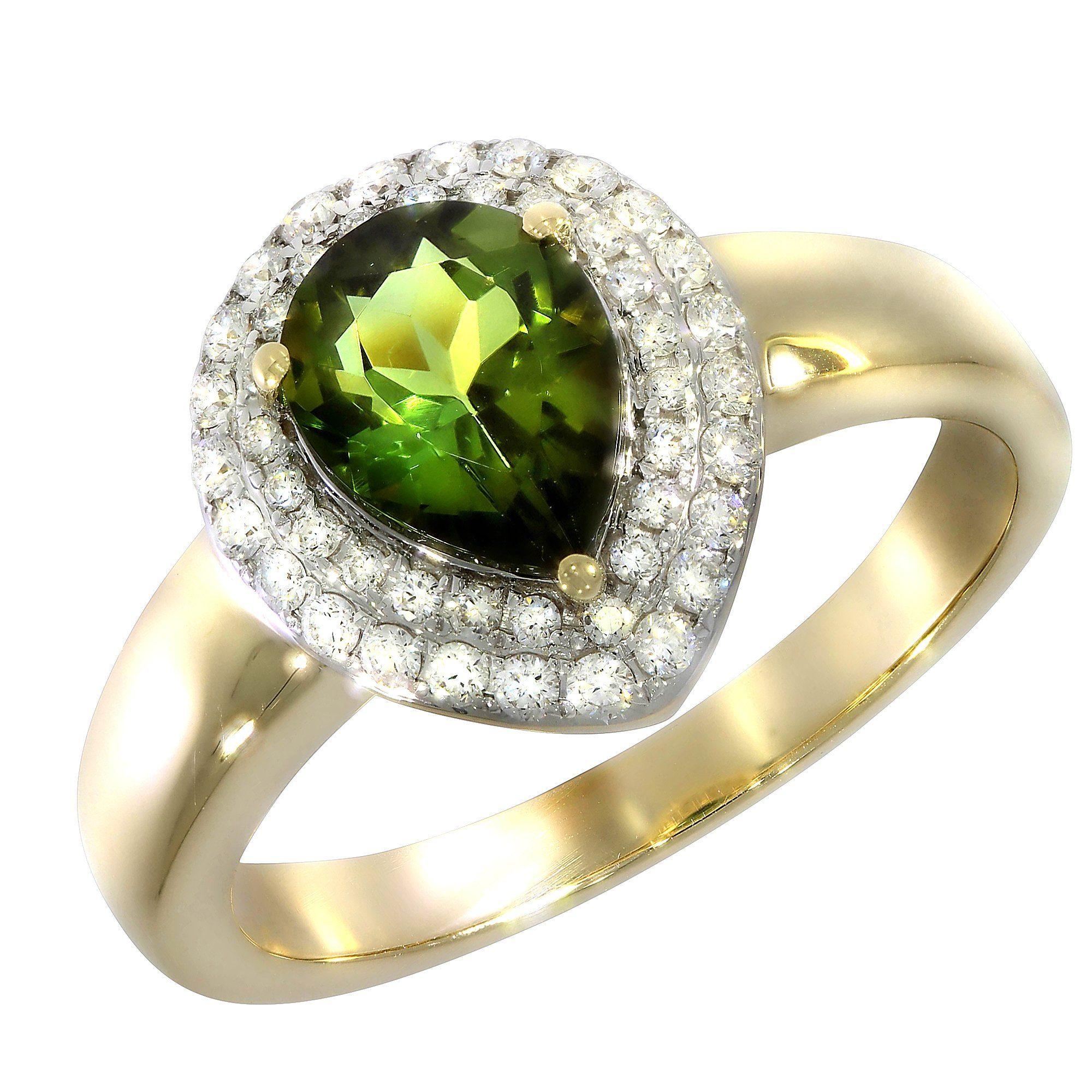 Creazione Bijoux Ring 750/- Gelbgold mit Turmalin und Diamanten | Schmuck > Ringe | Gelb | Creazione Bijoux