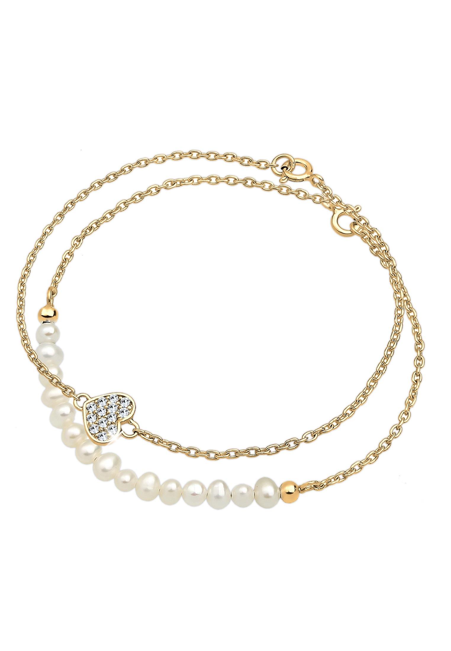 Elli Perlenarmband Set Herz Layer Swarovski Kristalle Cute 925 Silber   Schmuck > Armbänder > Perlenarmbänder   Elli